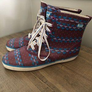 Vtg Keds rubber fur lined rain boots high tops 8M